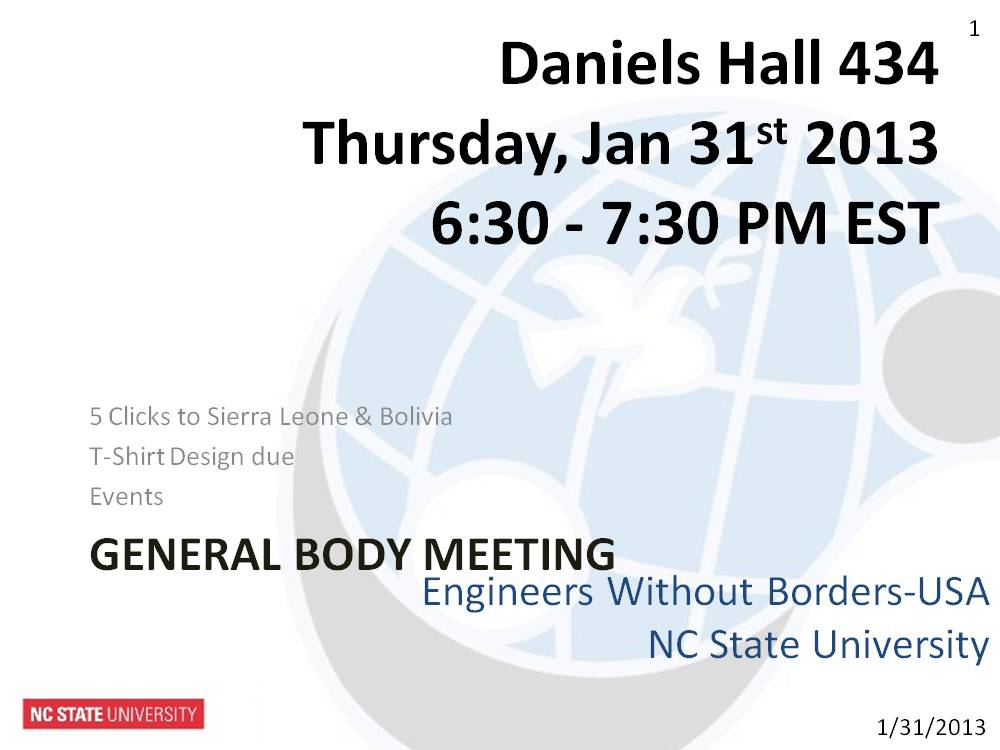 General Body Meeting 1-31-13